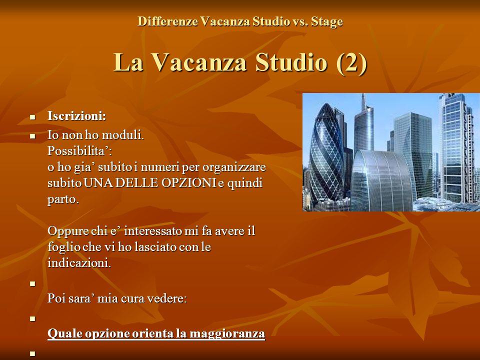 Differenze Vacanza Studio vs. Stage La Vacanza Studio (2) Iscrizioni: Iscrizioni: Io non ho moduli. Possibilita': o ho gia' subito i numeri per organi