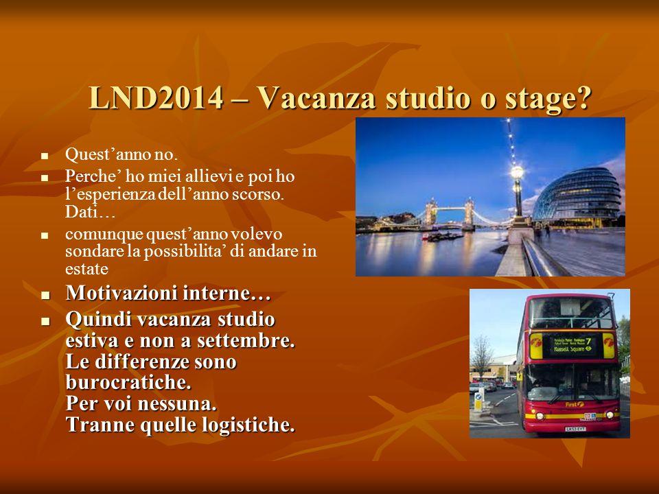 LND2014 – Vacanza studio o stage? Quest'anno no. Perche' ho miei allievi e poi ho l'esperienza dell'anno scorso. Dati… comunque quest'anno volevo sond