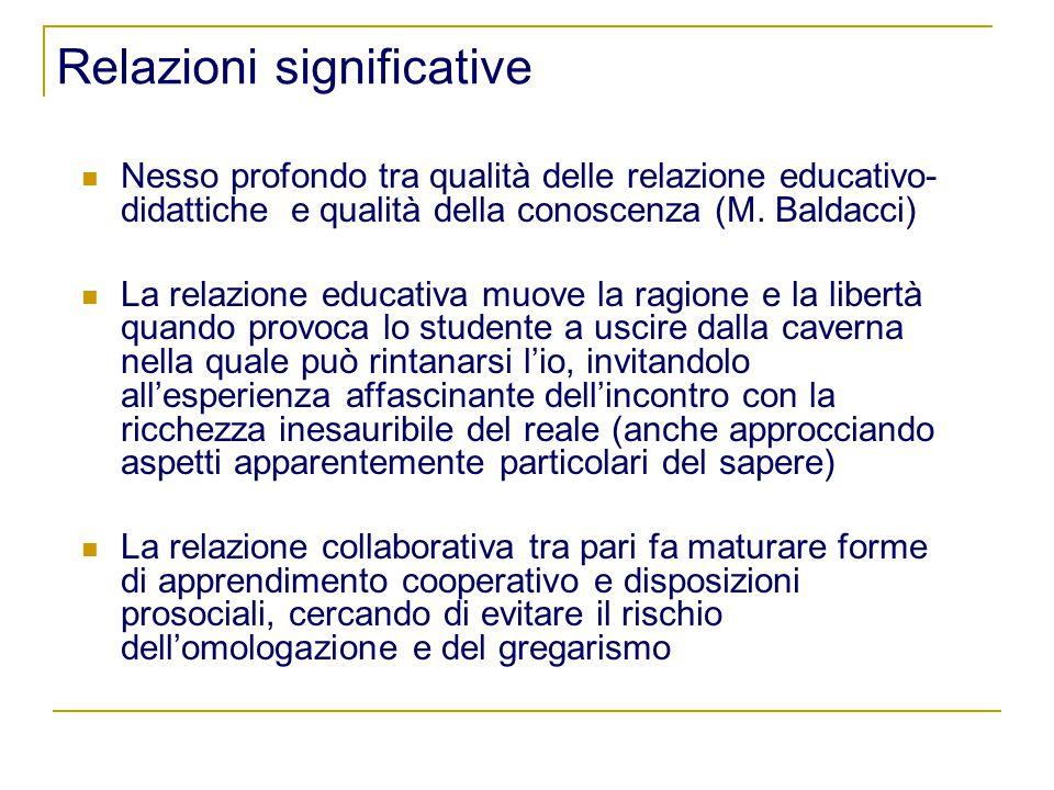 Relazioni significative Nesso profondo tra qualità delle relazione educativo- didattiche e qualità della conoscenza (M.