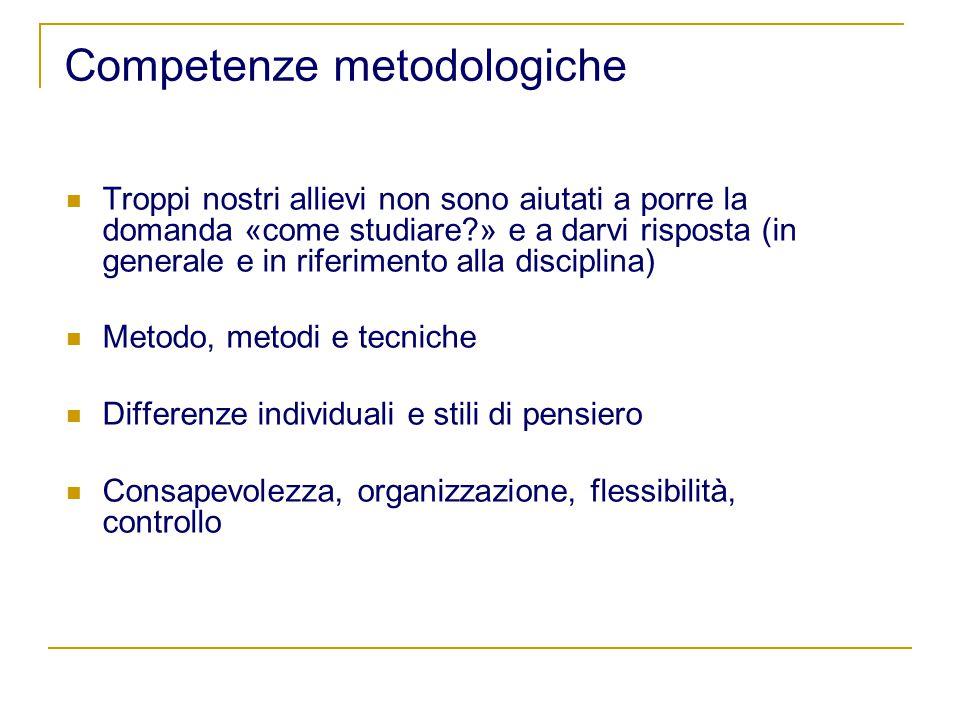 Competenze metodologiche Troppi nostri allievi non sono aiutati a porre la domanda «come studiare » e a darvi risposta (in generale e in riferimento alla disciplina) Metodo, metodi e tecniche Differenze individuali e stili di pensiero Consapevolezza, organizzazione, flessibilità, controllo