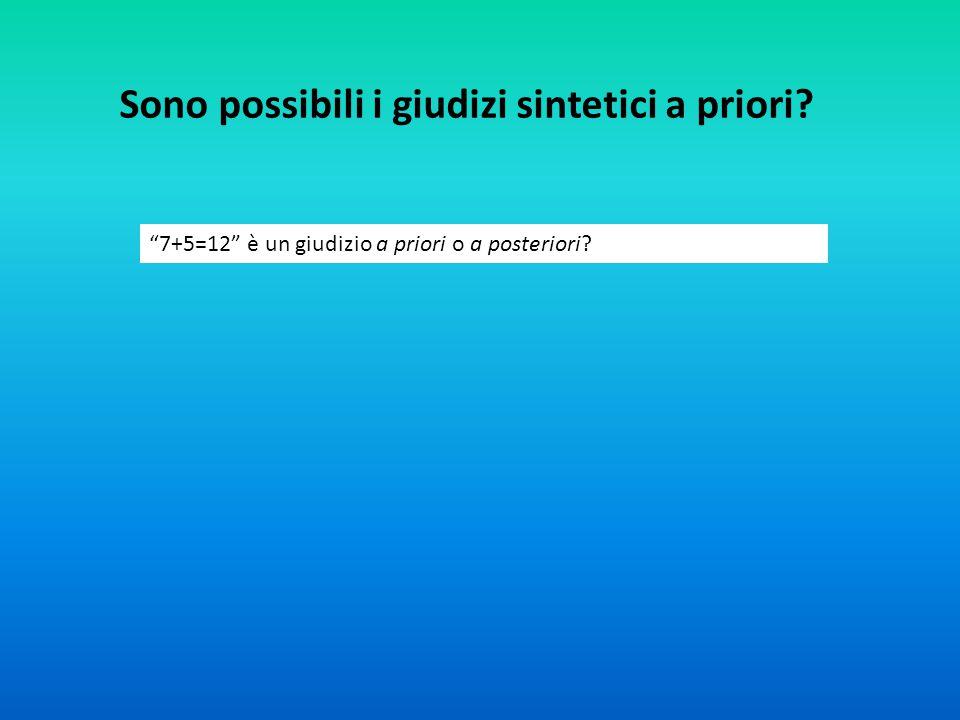 """Sono possibili i giudizi sintetici a priori? """"7+5=12"""" è un giudizio a priori o a posteriori?"""