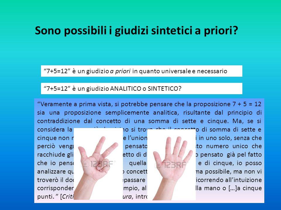 """Sono possibili i giudizi sintetici a priori? """"7+5=12"""" è un giudizio a priori in quanto universale e necessario """"7+5=12"""" è un giudizio ANALITICO o SINT"""