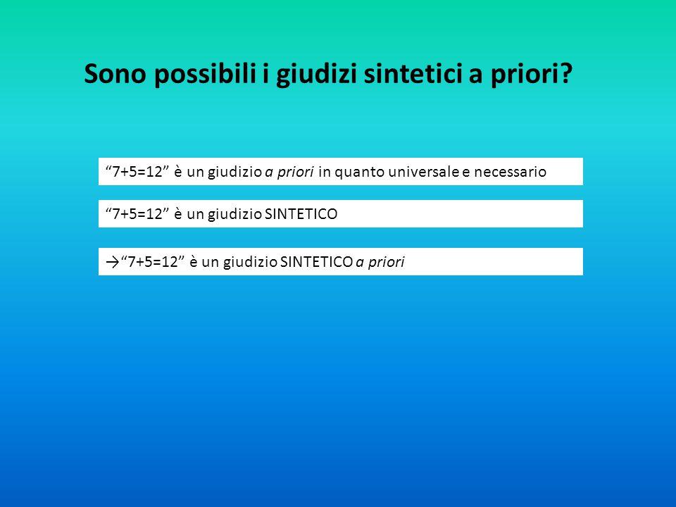 """Sono possibili i giudizi sintetici a priori? """"7+5=12"""" è un giudizio a priori in quanto universale e necessario """"7+5=12"""" è un giudizio SINTETICO →""""7+5="""