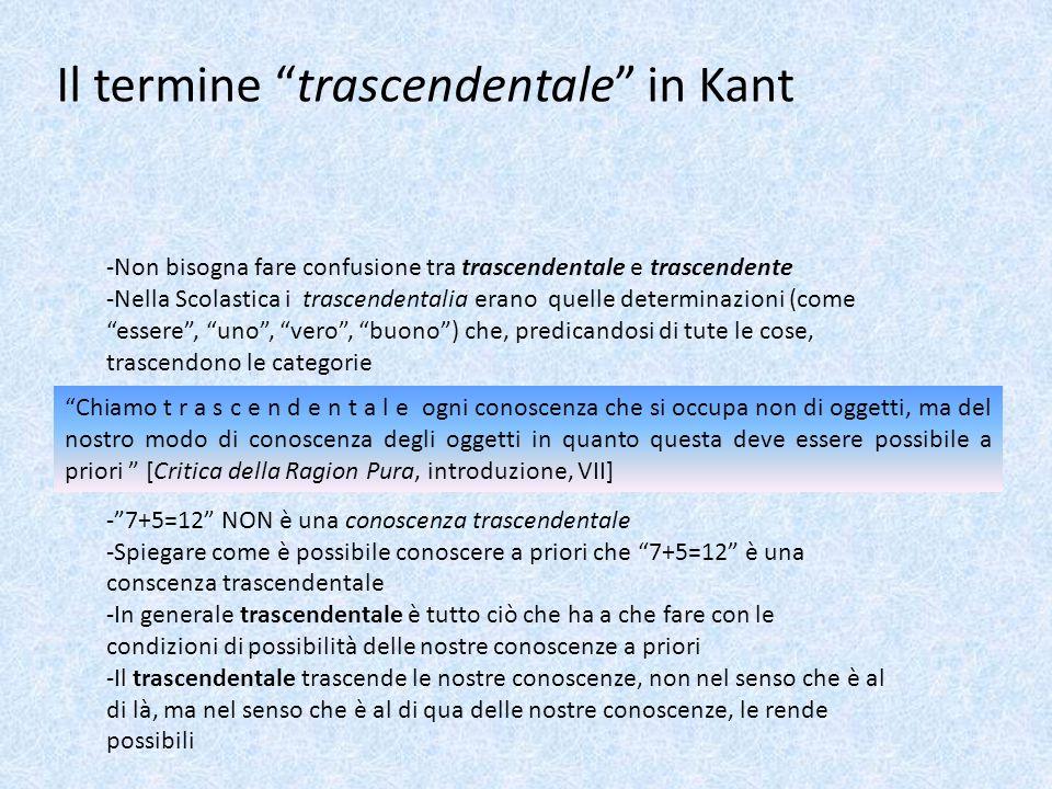 """Il termine """"trascendentale"""" in Kant -Non bisogna fare confusione tra trascendentale e trascendente -Nella Scolastica i trascendentalia erano quelle de"""