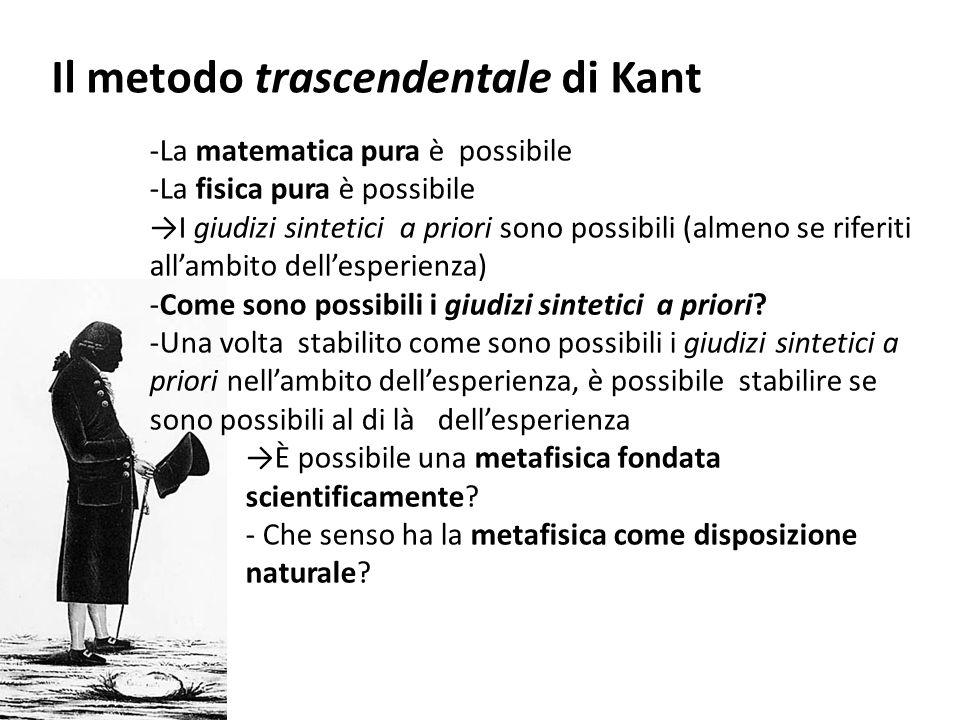 Il metodo trascendentale di Kant -La matematica pura è possibile -La fisica pura è possibile →I giudizi sintetici a priori sono possibili (almeno se r