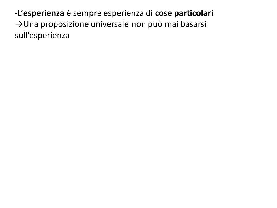 -L'esperienza è sempre esperienza di cose particolari →Una proposizione universale non può mai basarsi sull'esperienza