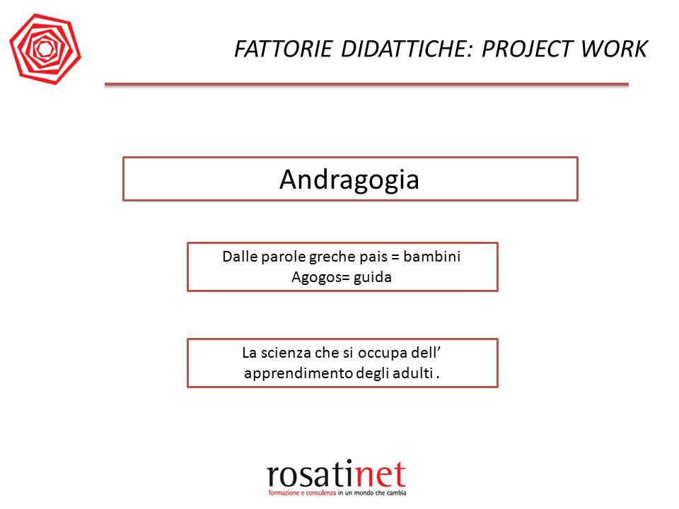 FATTORIE DIDATTICHE: PROJECT WORK Dalle parole greche pais = bambini Agogos= guida Andragogia La scienza che si occupa dell' apprendimento degli adult