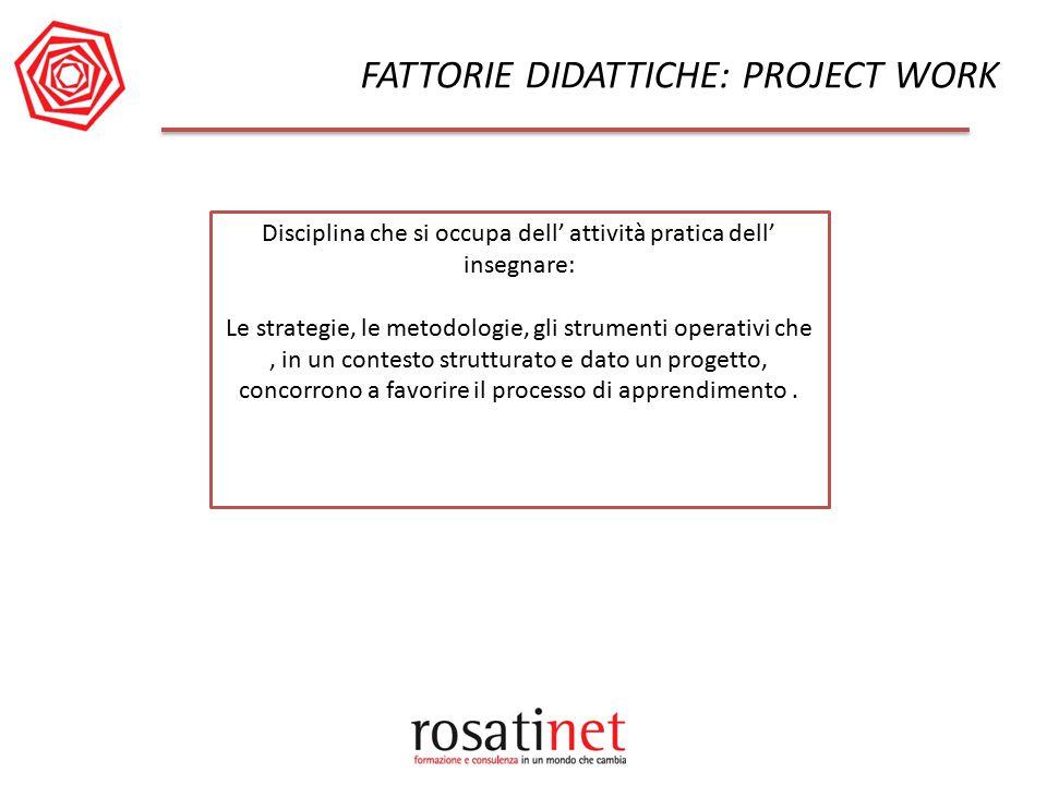 FATTORIE DIDATTICHE: PROJECT WORK Disciplina che si occupa dell' attività pratica dell' insegnare: Le strategie, le metodologie, gli strumenti operati
