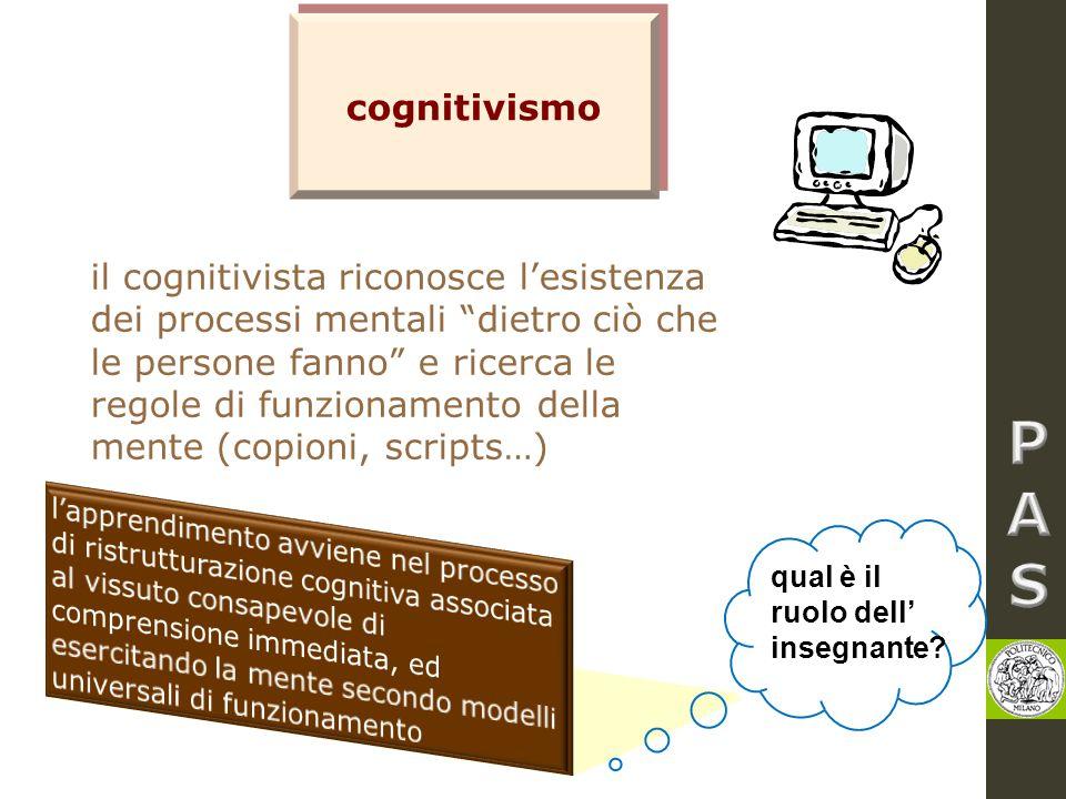 """cognitivismo il cognitivista riconosce l'esistenza dei processi mentali """"dietro ciò che le persone fanno"""" e ricerca le regole di funzionamento della m"""