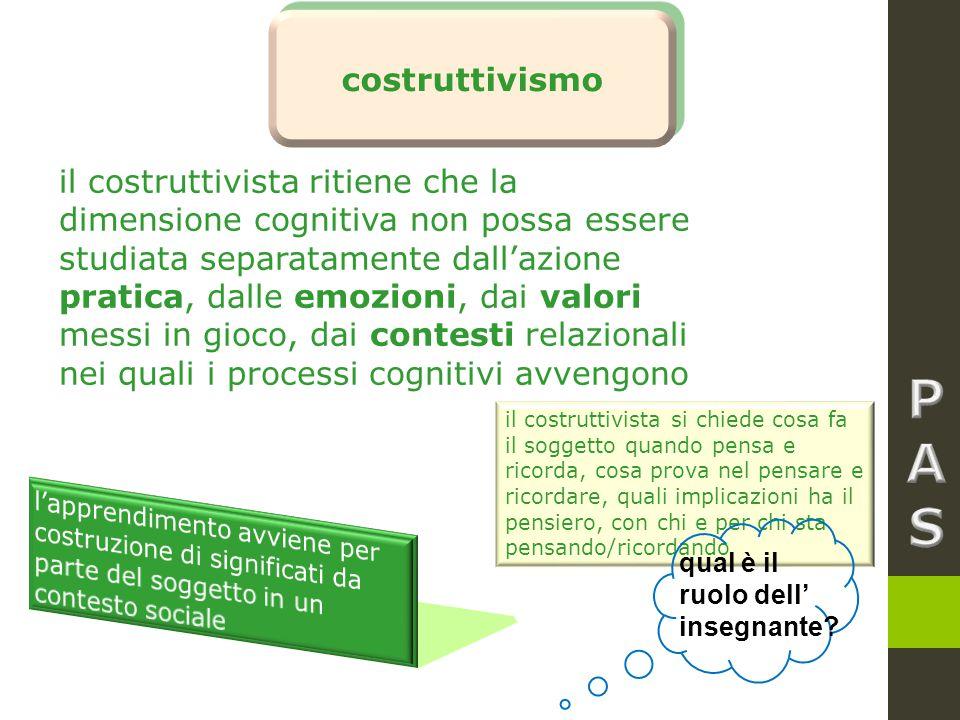 costruttivismo il costruttivista ritiene che la dimensione cognitiva non possa essere studiata separatamente dall'azione pratica, dalle emozioni, dai