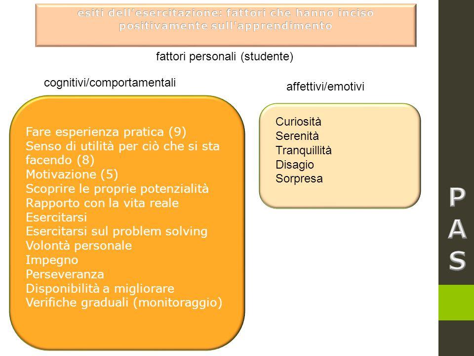 fattori personali (studente) Fare esperienza pratica (9) Senso di utilità per ciò che si sta facendo (8) Motivazione (5) Scoprire le proprie potenzial