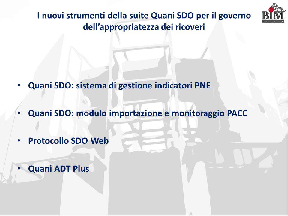 I nuovi strumenti della suite Quani SDO per il governo dell'appropriatezza dei ricoveri Quani SDO: sistema di gestione indicatori PNE Quani SDO: modul