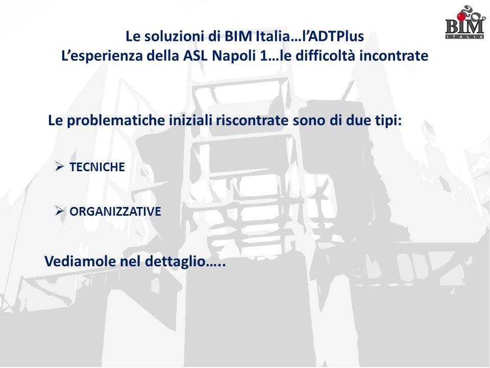 Le soluzioni di BIM Italia…l'ADTPlus L'esperienza della ASL Napoli 1…le difficoltà incontrate Le problematiche iniziali riscontrate sono di due tipi: