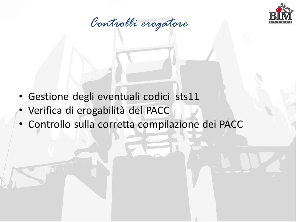 Gestione degli eventuali codici sts11 Verifica di erogabilità del PACC Controllo sulla corretta compilazione dei PACC Controlli erogatore