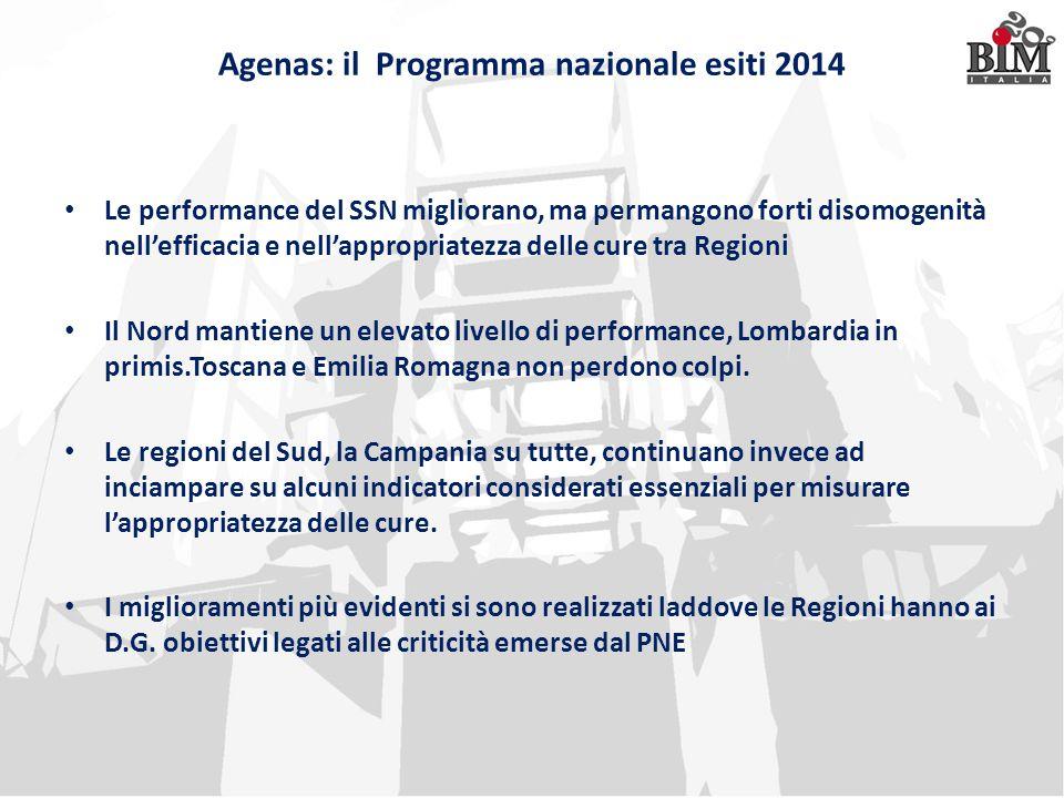 Agenas: il Programma nazionale esiti 2014 Le performance del SSN migliorano, ma permangono forti disomogenità nell'efficacia e nell'appropriatezza del