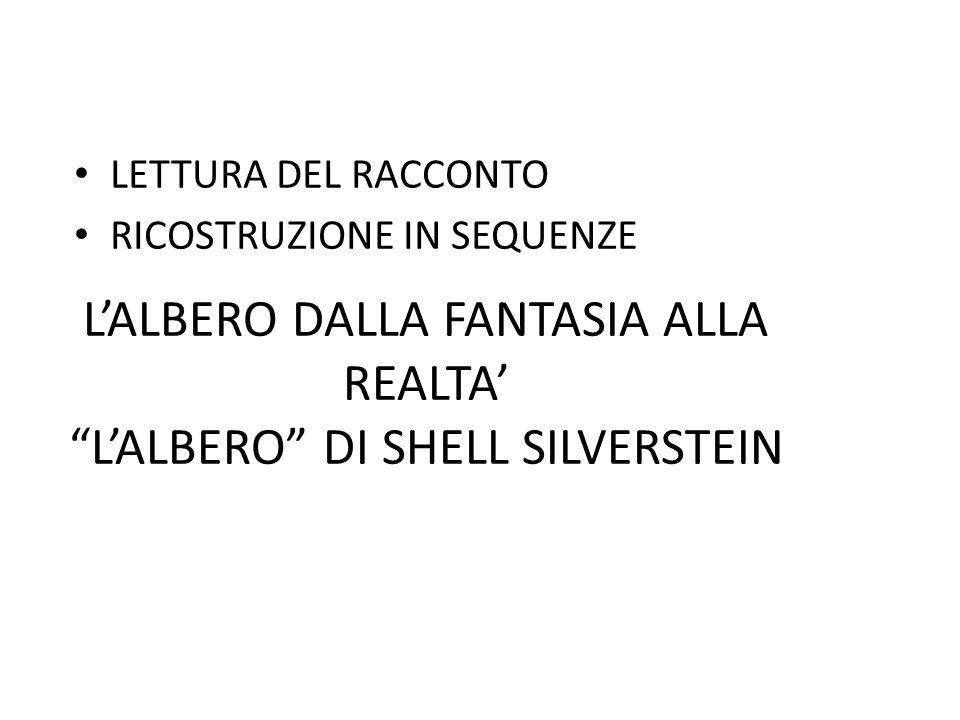 """L'ALBERO DALLA FANTASIA ALLA REALTA' """"L'ALBERO"""" DI SHELL SILVERSTEIN LETTURA DEL RACCONTO RICOSTRUZIONE IN SEQUENZE"""