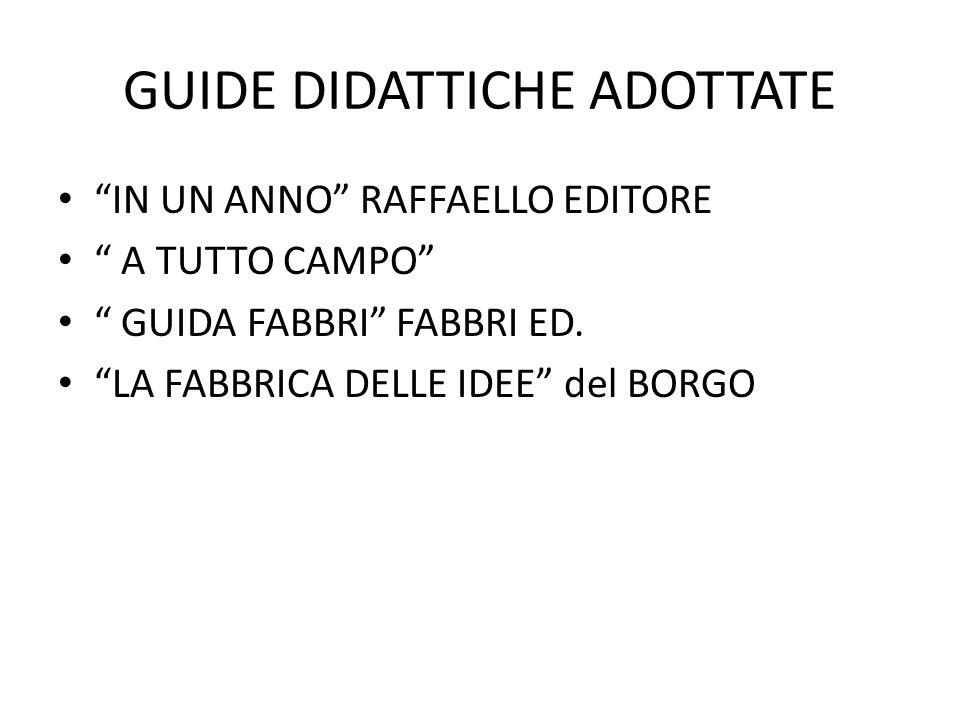 """GUIDE DIDATTICHE ADOTTATE """"IN UN ANNO"""" RAFFAELLO EDITORE """" A TUTTO CAMPO"""" """" GUIDA FABBRI"""" FABBRI ED. """"LA FABBRICA DELLE IDEE"""" del BORGO"""