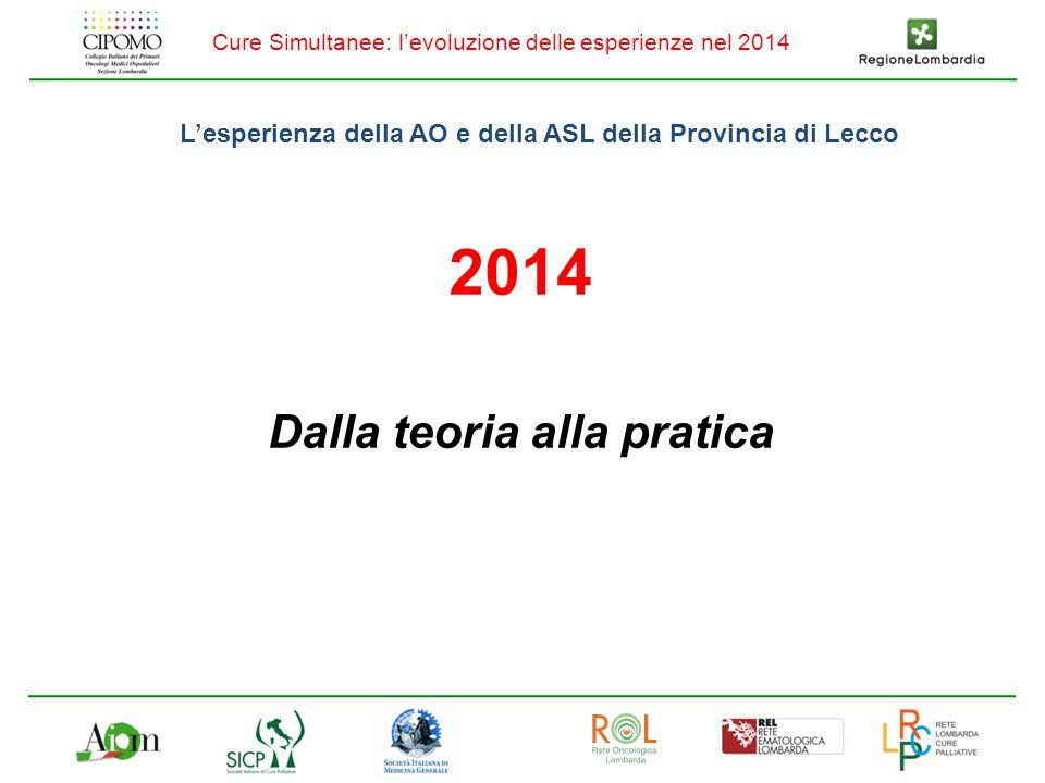 Cure Simultanee: l'evoluzione delle esperienze nel 2014 L'esperienza della AO e della ASL della Provincia di Lecco 2014 Dalla teoria alla pratica