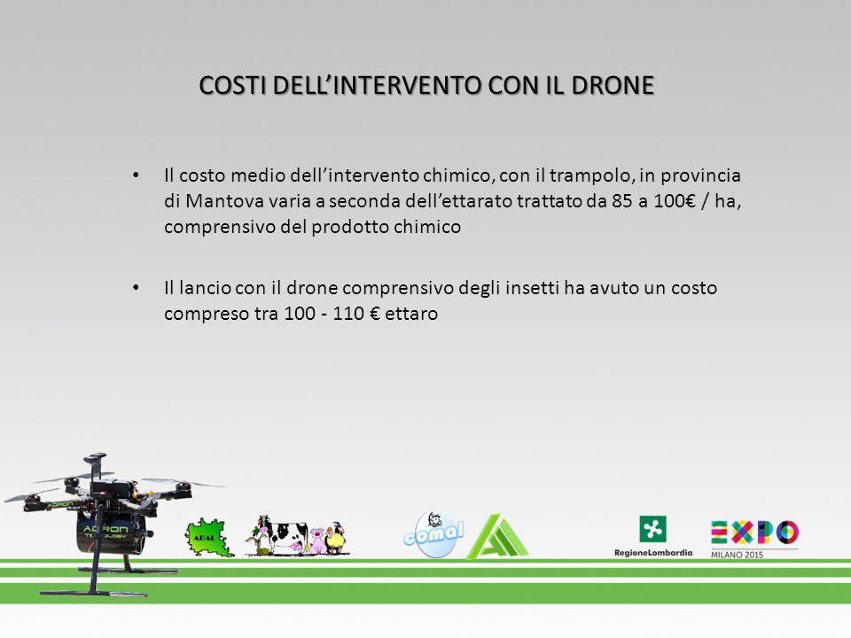 COSTI DELL'INTERVENTO CON IL DRONE Il costo medio dell'intervento chimico, con il trampolo, in provincia di Mantova varia a seconda dell'ettarato trat