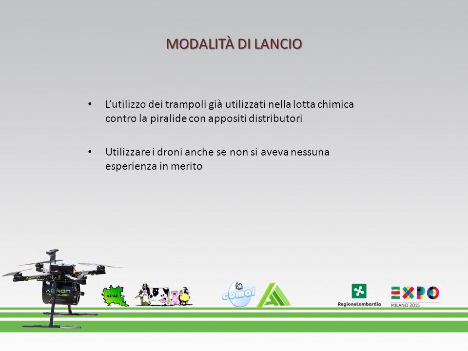 MODALITÀ DI LANCIO L'utilizzo dei trampoli già utilizzati nella lotta chimica contro la piralide con appositi distributori Utilizzare i droni anche se non si aveva nessuna esperienza in merito