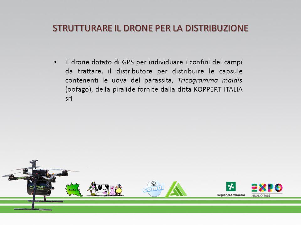 STRUTTURARE IL DRONE PER LA DISTRIBUZIONE il drone dotato di GPS per individuare i confini dei campi da trattare, il distributore per distribuire le c