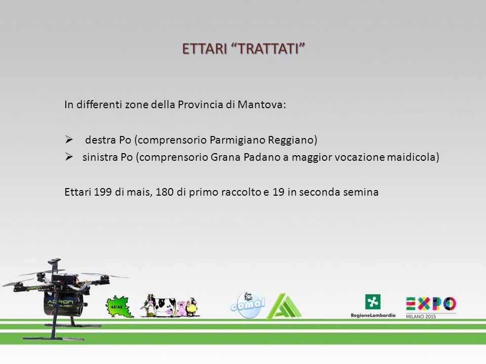 """ETTARI """"TRATTATI"""" In differenti zone della Provincia di Mantova:  destra Po (comprensorio Parmigiano Reggiano)  sinistra Po (comprensorio Grana Pada"""