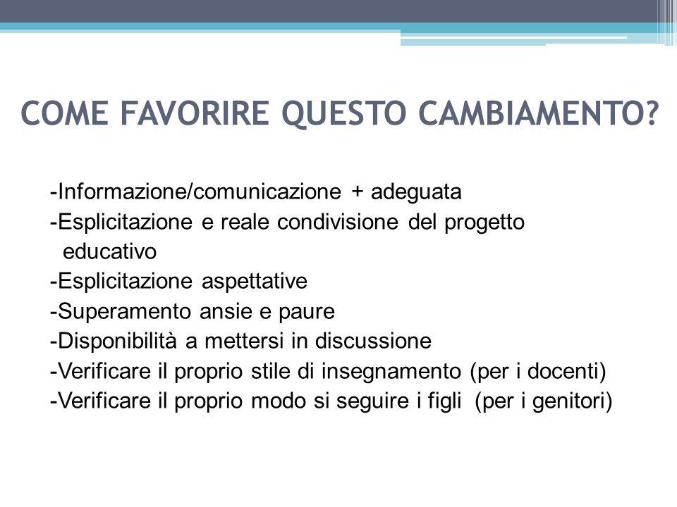 COME FAVORIRE QUESTO CAMBIAMENTO? -Informazione/comunicazione + adeguata -Esplicitazione e reale condivisione del progetto educativo -Esplicitazione a