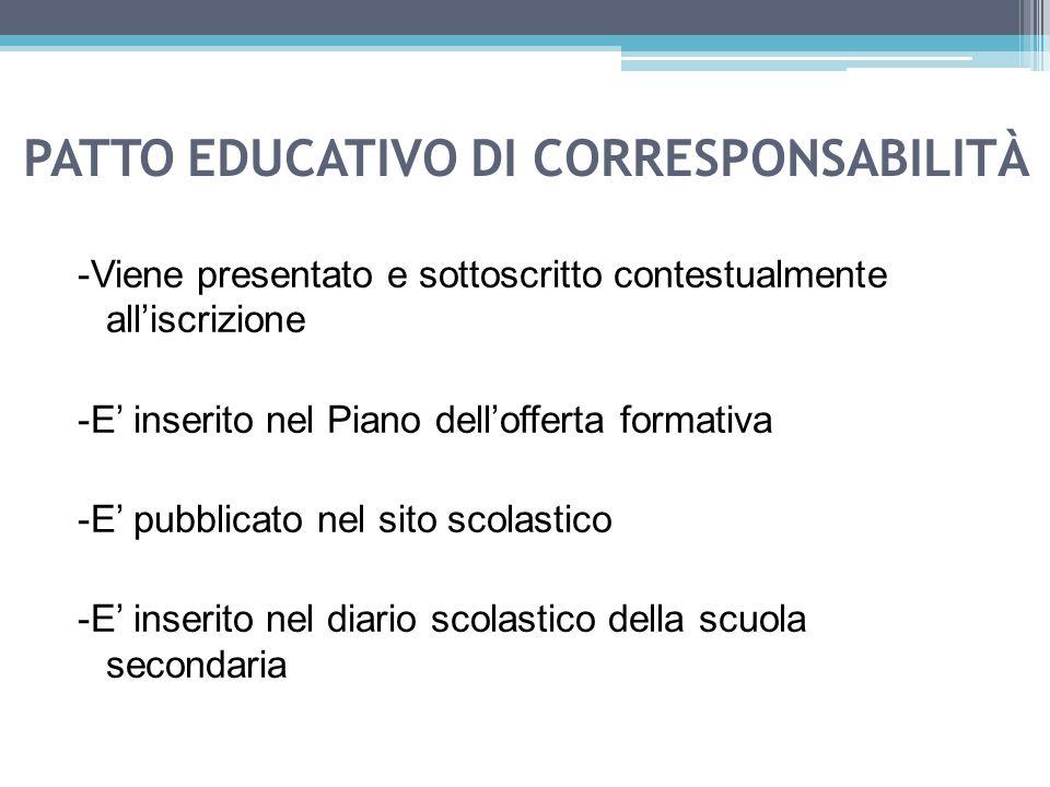 PATTO EDUCATIVO DI CORRESPONSABILITÀ -Viene presentato e sottoscritto contestualmente all'iscrizione -E' inserito nel Piano dell'offerta formativa -E'