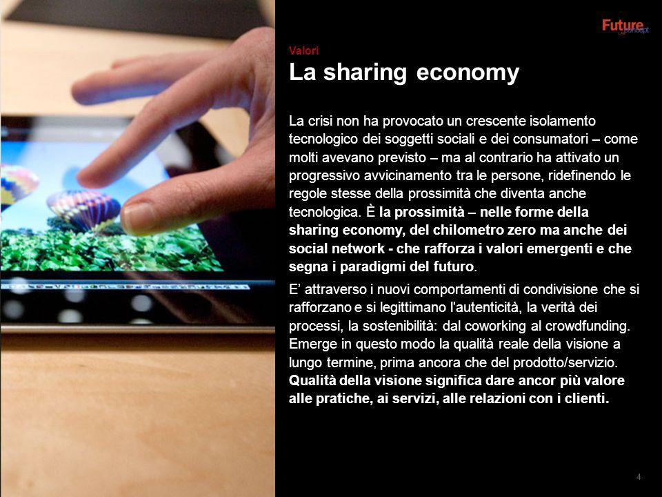 La sharing economy La crisi non ha provocato un crescente isolamento tecnologico dei soggetti sociali e dei consumatori – come molti avevano previsto – ma al contrario ha attivato un progressivo avvicinamento tra le persone, ridefinendo le regole stesse della prossimità che diventa anche tecnologica.