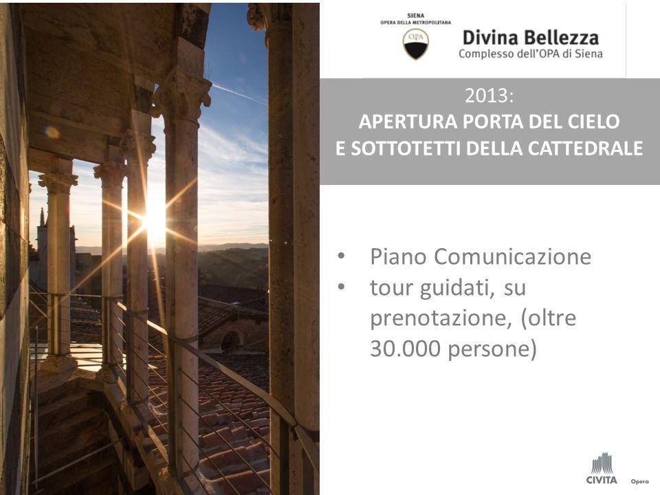 Piano Comunicazione tour guidati, su prenotazione, (oltre 30.000 persone) 2013: APERTURA PORTA DEL CIELO E SOTTOTETTI DELLA CATTEDRALE