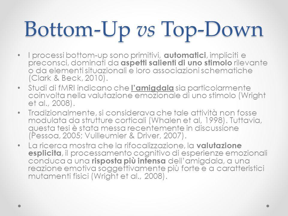 Bottom-Up vs Top-Down I processi bottom-up sono primitivi, automatici, impliciti e preconsci, dominati da aspetti salienti di uno stimolo rilevante o