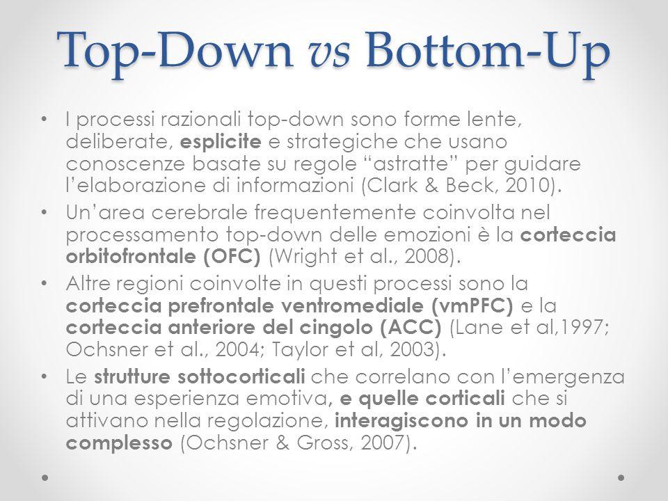 """Top-Down vs Bottom-Up I processi razionali top-down sono forme lente, deliberate, esplicite e strategiche che usano conoscenze basate su regole """"astra"""