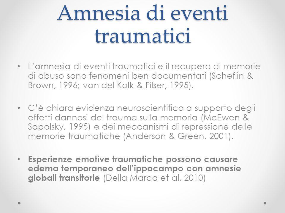 Amnesia di eventi traumatici L'amnesia di eventi traumatici e il recupero di memorie di abuso sono fenomeni ben documentati (Scheflin & Brown, 1996; v