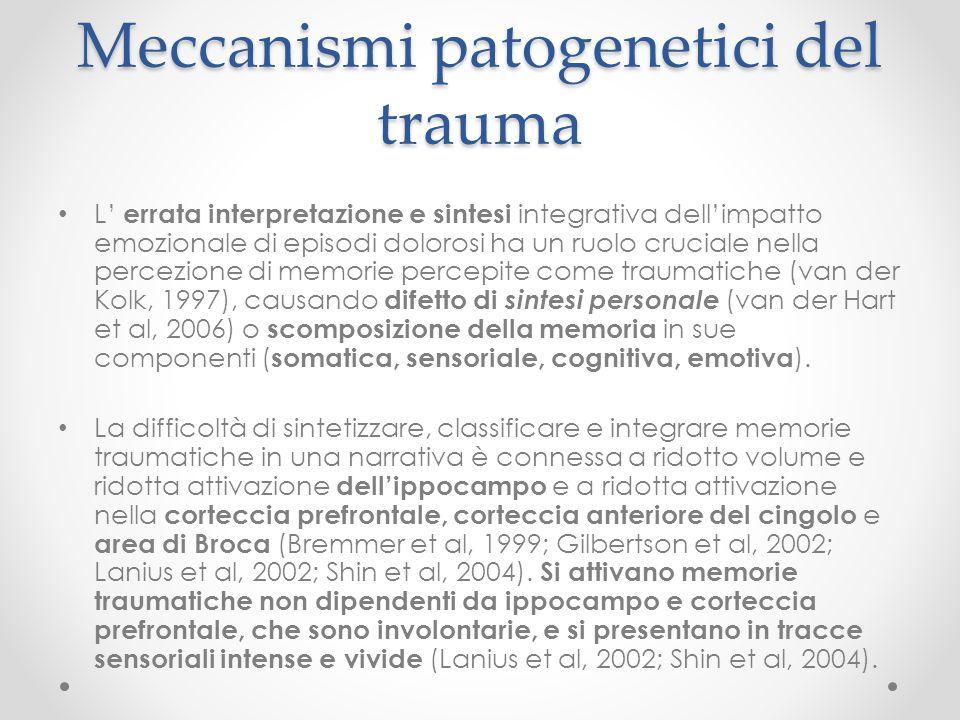 Meccanismi patogenetici del trauma L' errata interpretazione e sintesi integrativa dell'impatto emozionale di episodi dolorosi ha un ruolo cruciale ne