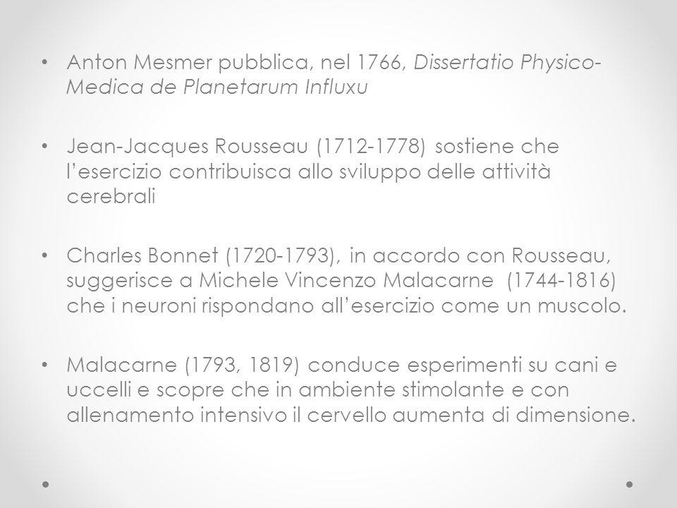 Anton Mesmer pubblica, nel 1766, Dissertatio Physico- Medica de Planetarum Influxu Jean-Jacques Rousseau (1712-1778) sostiene che l'esercizio contribu