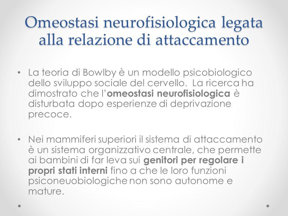 Omeostasi neurofisiologica legata alla relazione di attaccamento La teoria di Bowlby è un modello psicobiologico dello sviluppo sociale del cervello.