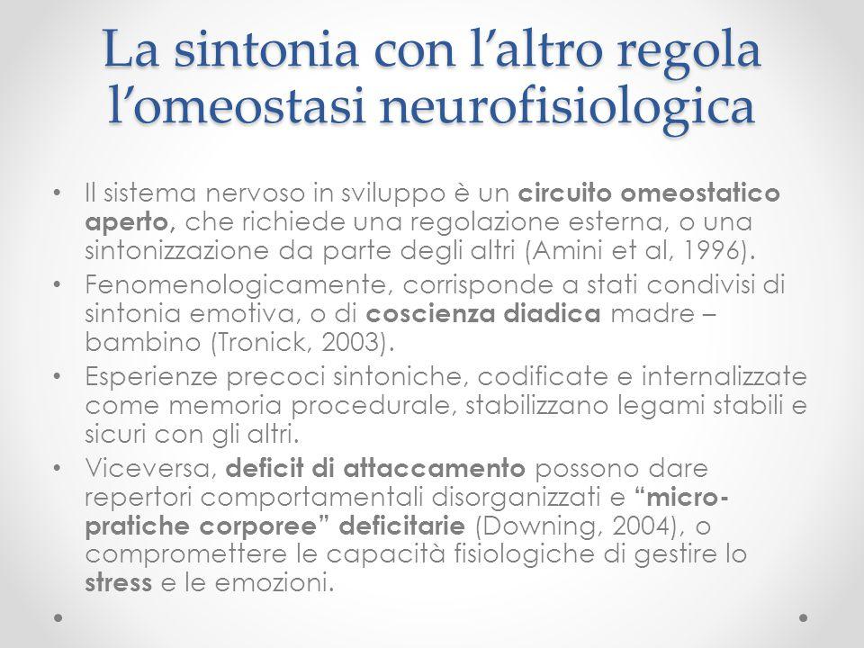 La sintonia con l'altro regola l'omeostasi neurofisiologica Il sistema nervoso in sviluppo è un circuito omeostatico aperto, che richiede una regolazi