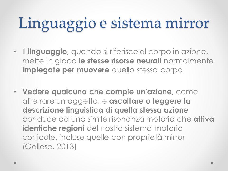 Linguaggio e sistema mirror Il linguaggio, quando si riferisce al corpo in azione, mette in gioco le stesse risorse neurali normalmente impiegate per