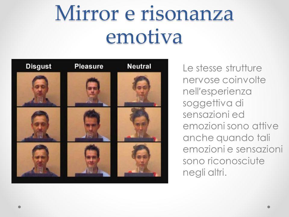 Mirror e risonanza emotiva Le stesse strutture nervose coinvolte nell ' esperienza soggettiva di sensazioni ed emozioni sono attive anche quando tali