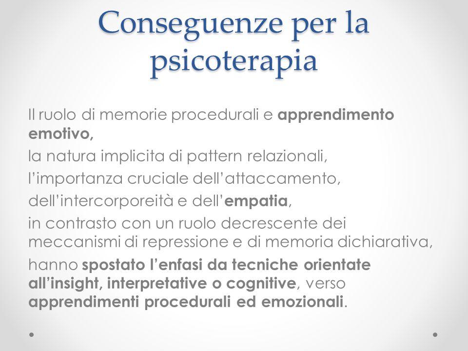 Conseguenze per la psicoterapia Il ruolo di memorie procedurali e apprendimento emotivo, la natura implicita di pattern relazionali, l'importanza cruc