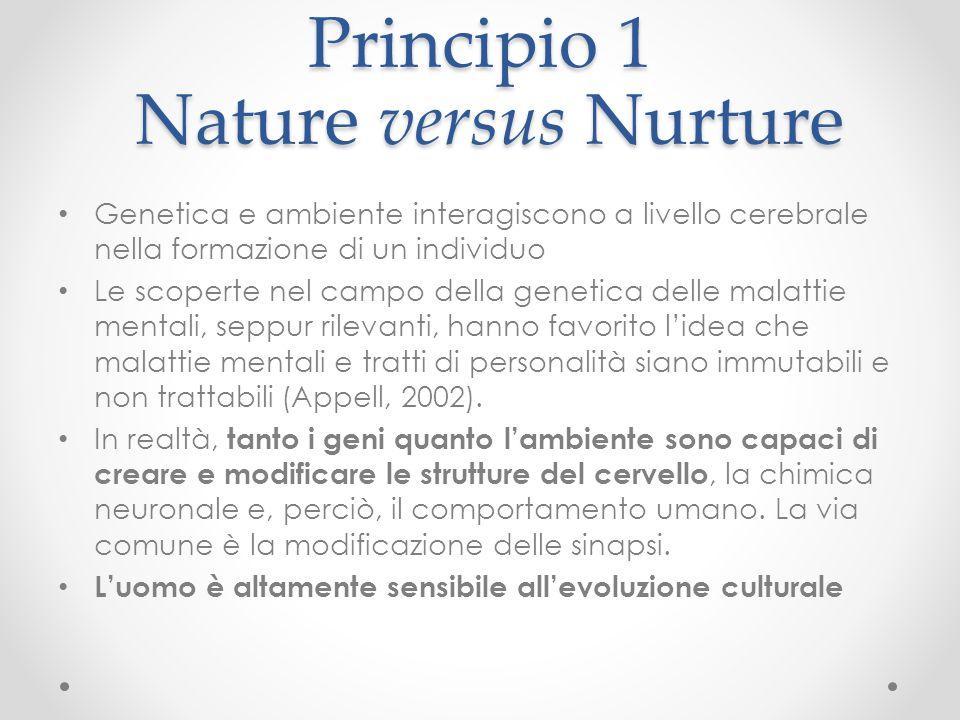 Principio 1 Nature versus Nurture Genetica e ambiente interagiscono a livello cerebrale nella formazione di un individuo Le scoperte nel campo della g