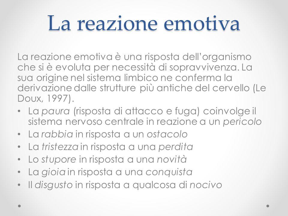 La reazione emotiva La reazione emotiva è una risposta dell'organismo che si è evoluta per necessità di sopravvivenza. La sua origine nel sistema limb