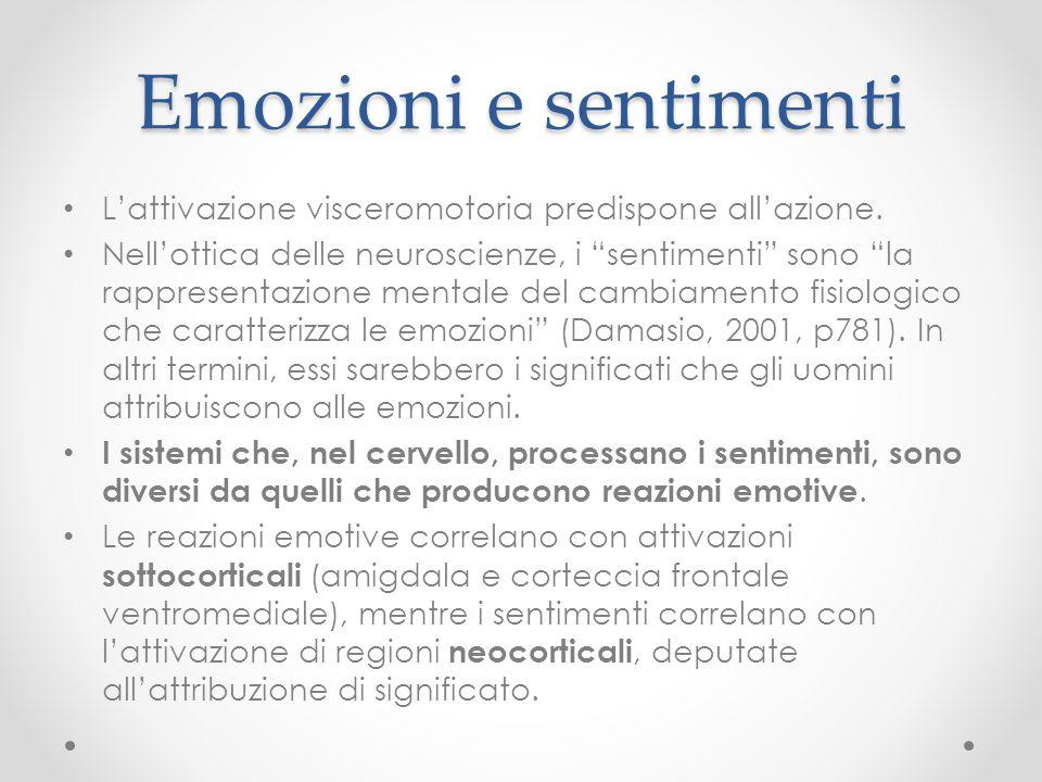 """Emozioni e sentimenti L'attivazione visceromotoria predispone all'azione. Nell'ottica delle neuroscienze, i """"sentimenti"""" sono """"la rappresentazione men"""