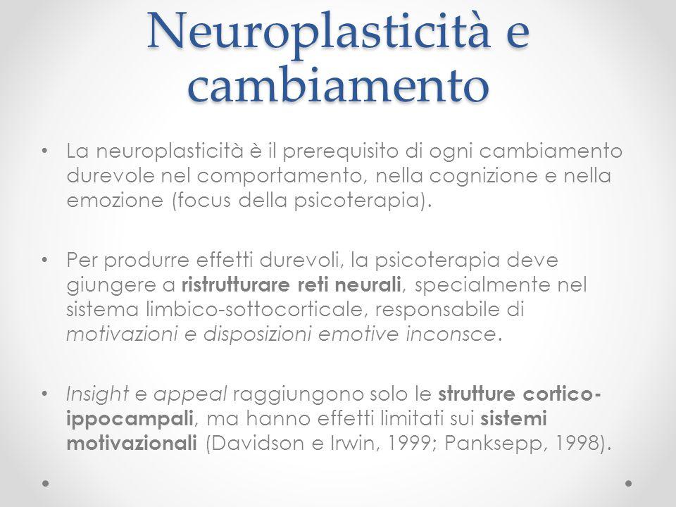 Neuroplasticità e cambiamento La neuroplasticità è il prerequisito di ogni cambiamento durevole nel comportamento, nella cognizione e nella emozione (