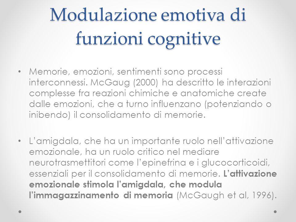 Modulazione emotiva di funzioni cognitive Memorie, emozioni, sentimenti sono processi interconnessi. McGaug (2000) ha descritto le interazioni comples