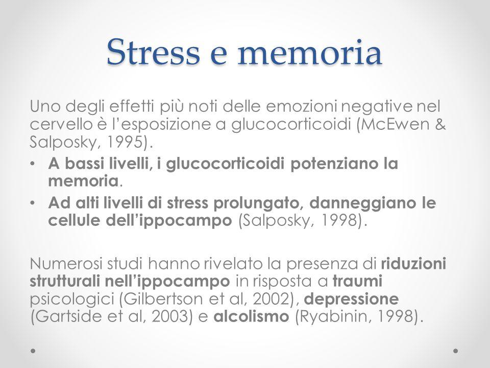 Stress e memoria Uno degli effetti più noti delle emozioni negative nel cervello è l'esposizione a glucocorticoidi (McEwen & Salposky, 1995). A bassi