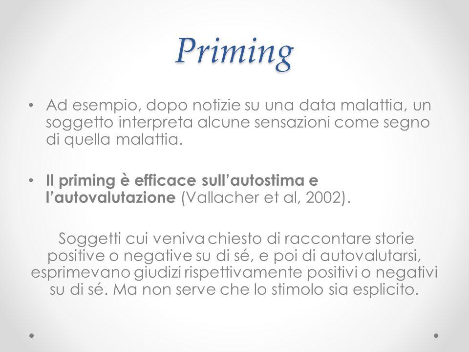 Priming Ad esempio, dopo notizie su una data malattia, un soggetto interpreta alcune sensazioni come segno di quella malattia. Il priming è efficace s