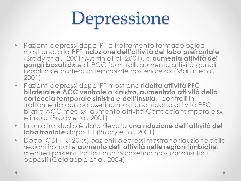 Depressione Pazienti depressi dopo IPT e trattamento farmacologico mostrano, alla PET: riduzione dell'attività del lobo prefrontale (Brody et al., 200