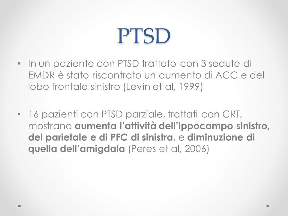 PTSD In un paziente con PTSD trattato con 3 sedute di EMDR è stato riscontrato un aumento di ACC e del lobo frontale sinistro (Levin et al, 1999) 16 p