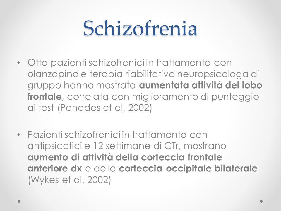 Schizofrenia Otto pazienti schizofrenici in trattamento con olanzapina e terapia riabilitativa neuropsicologa di gruppo hanno mostrato aumentata attiv